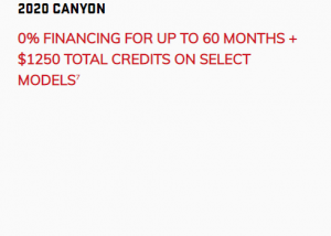 2020_GMC_Canyon 0% FINANCING FOR UP TO 60 MONTHS + $1250 TOTAL CREDITS ON SELECT MODELS