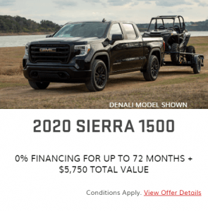 2020 GMC 1500 Sierra Special Offers Incentives Sunshine Coast GM