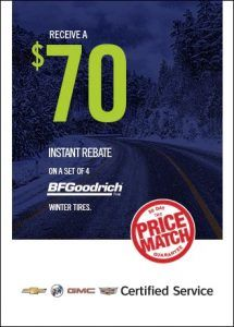 Receive a $70 instant rebate on a set of 4 BF Goodrich tires Sunshine Coast GM
