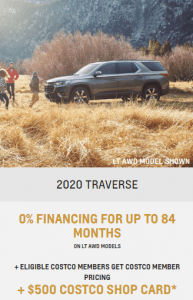 2020 Chevrolet Traverse Spcial Offers Sunshine Coast GM British Columbia