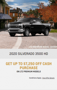 2020 Chevy Siverado 3500 HD Special Offers Incentives Sunshine Coast GM British Columbia